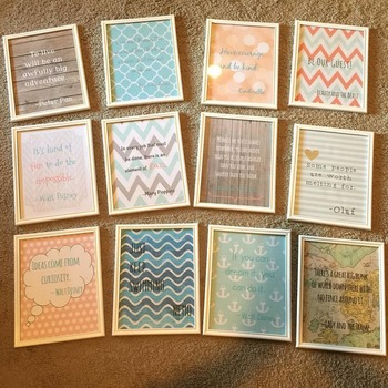 Disney Quotes Classroom Vintage Decor - Coral, Turquoise