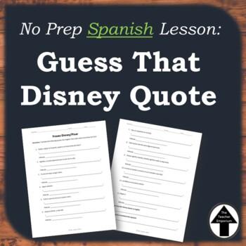 Disney Quotes Spanish Worksheet Activity Translation Practice / No Prep Sub Plan