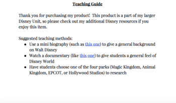 Disney Research Project:  Travel Brochure