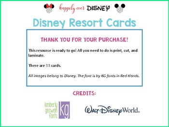 Disney Resort Cards | Table Groups / Partner Cards