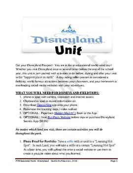 Disney Schooling:  Disneyland Mini Unit