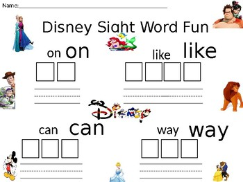 Disney Sight Word Fun- Editable