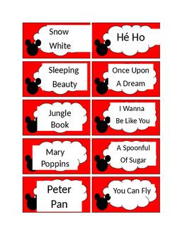 Disney Song Pairs