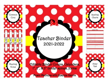 Red Bow Teacher Binder 2018-2019 (Covers, Spines, Forms & Calendars) Editable