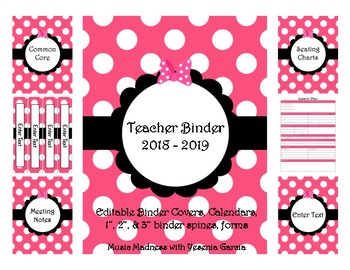 Pink Bow Teacher Binder 2017-2018 (Covers, Spines, Forms & Calendars) Editable