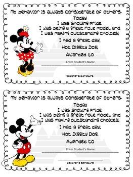 Disney Theme Certificates for Behavior Incentives
