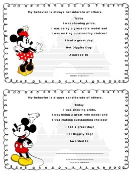 Disney Theme Certificates for Behavior Incentives by ...