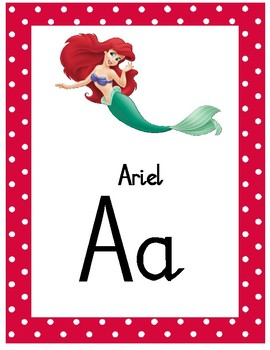 Disney Themed Alphabet Chart - Natalia Script