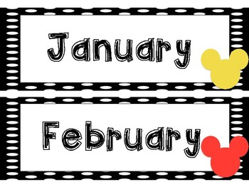 Disney Themed Calendar Month Cards *** Black and White Polkadots***