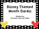 Disney Themed Calendar Month Cards *** Black and White Pol