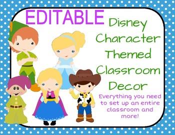 Disney Themed Classroom Decor: Drawn Child-Like Characters