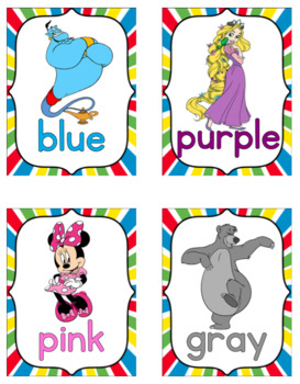 Disney-Themed Color Cards and Posters
