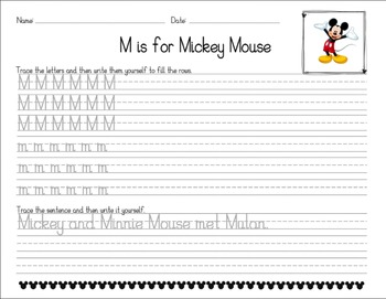 Disney-Themed D'Nealian Handwriting Worksheets