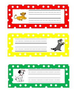Disney Themed Desk Name Labels