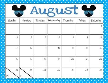 Disney Themed Editable Calendar (Aug. 2019-July 2020)