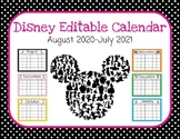 Disney Themed Editable Calendar (Aug. 2020-July 2021)