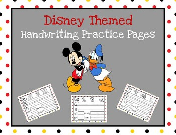Disney Themed Handwriting Practice Pages