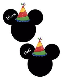 Disney Themed Monthly Birthday Cutouts