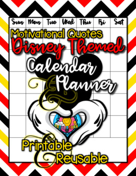 Disney Themed Motivational Quotes Calendar & Planner Pages
