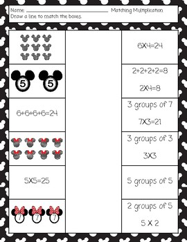 Disney Themed Multiplication: Repeated Addition, Equal Groups, Arrays