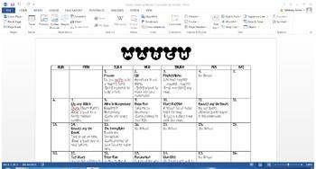Disney Themed Reading Month Calendar