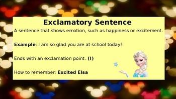 Disney Themed Sentence Types