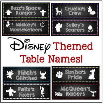 Disney Themed Table Names x8