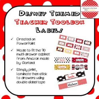 Disney Themed Teacher's Toolbox Labels
