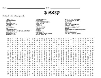 photo relating to Disney Word Search Printable identify Disney Themed Term Seem