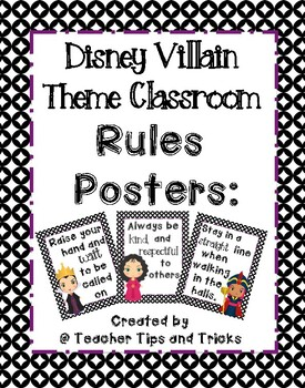 Disney Villain Theme Classroom Rules Posters