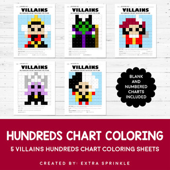 Disney Villains Inspired Hundreds Chart Coloring Pages