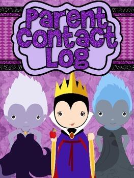 Villains Parent Contact and Conference Log