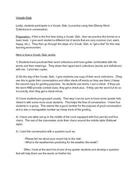 Disney Vocabulary Unit, Activities, and Rubric