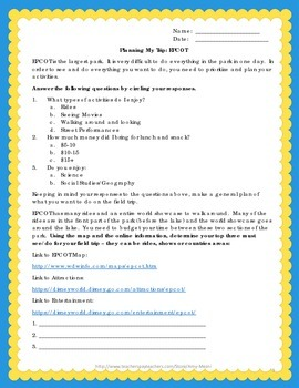 Disney World Field Trip Student Mapping Activity And Narrative Writing Activity