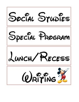 Classroom Schedule: Part 1 - Disney Theme