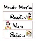 Classroom Schedule: Part 1 - Disney Theme