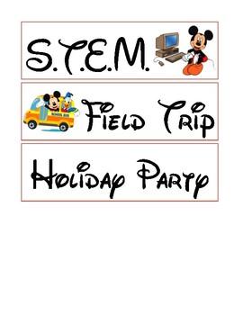 Classroom Schedule: Part 2 - Disney Theme