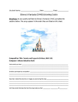 Disney's Fantasia 1940 Listening Guide