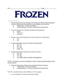 Disney's Frozen - Follow Along Questions - Middle School -