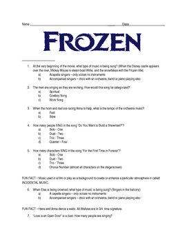Disney's Frozen - Follow Along Questions - MS/HS - Editabl