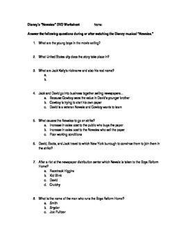 Disney's Newsies DVD Worksheet
