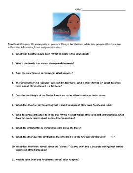 Disney's Pocahontas Video Guide and Key