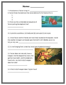 Disney's Tarzan Movie Watching Science Sheet