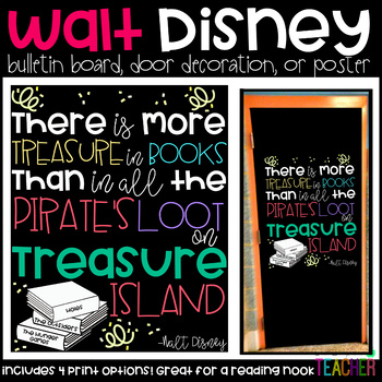 "Disney's ""There is More Treasure in Books"" Bulletin Board, Door Decor, or Poster"