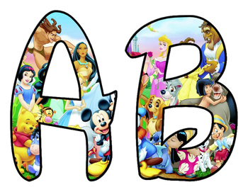 Disney style Script Upper Case and Number BB Letters
