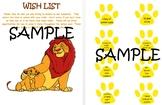 Disney themed Lion King jungle safari classroom wish list-EDITABLE
