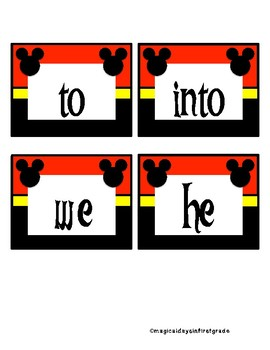 Disney themed word wall trick words level 1