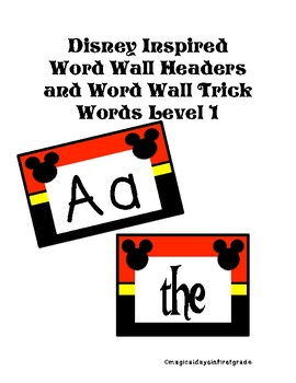 Disney themed word wall trick words level 1 and word wall headers bundle