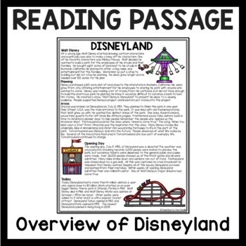 Disneyland History Reading Comprehension, Walt Disney; High Interest; Fifties
