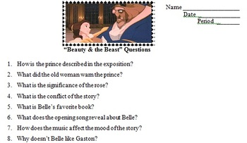 "Disney's ""Beauty & the Beast"" Film Study Questions"